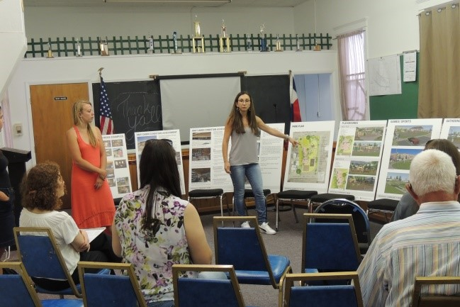 MLA and Historic Preservation Student present their designs at a community meeting in Rockvale