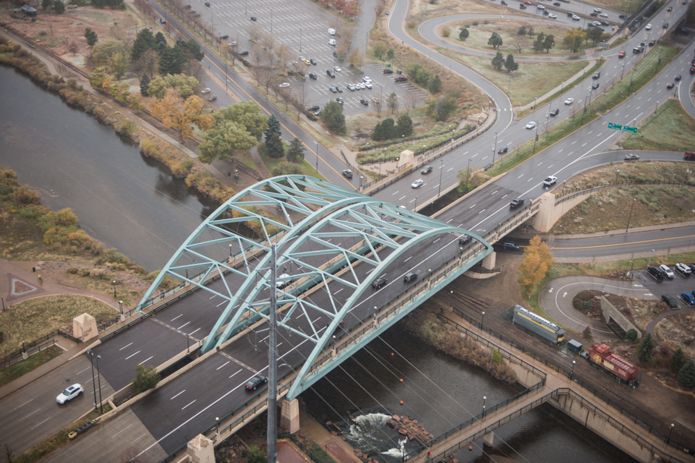 ariel view of bridge in downtown Denver