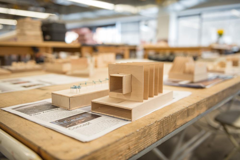 Small bass wood model sitting on a studio desk