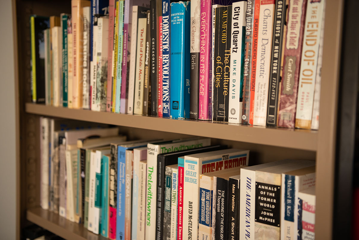 Rows of books on a shelf