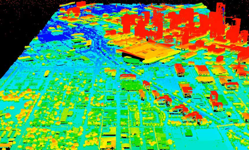 Colorful GIS image of a cityscape