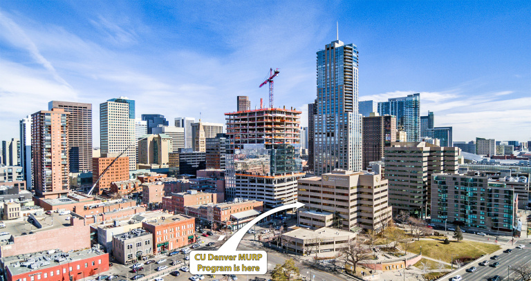CU Denver College of Architecture and Planning Building Location - Aerial Shot of LoDo