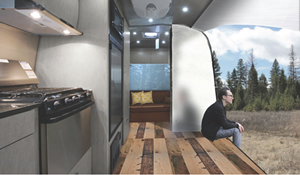 Rendering of airstream trailer open to the outdoors