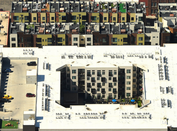 Aerial view of apartment buildings in Denver with no green space in view